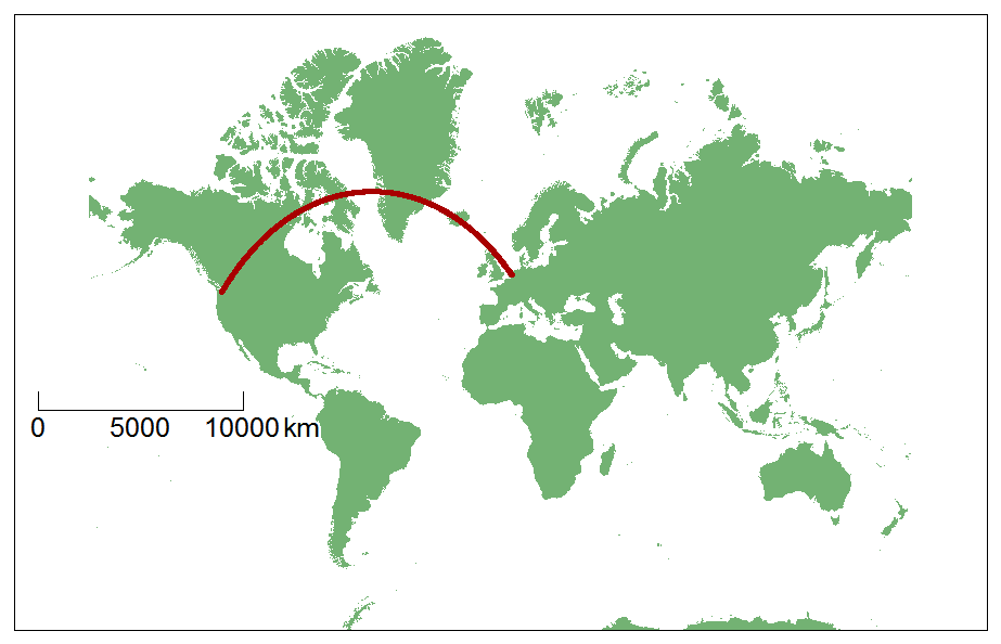 Amsterdam - Seattle (shortest distance)
