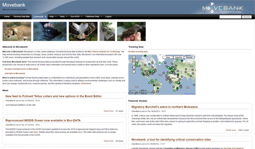 Movebank Website Homepage