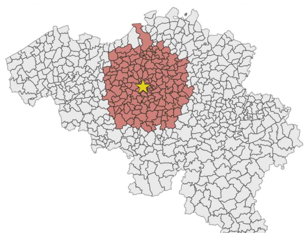 Municipalities in a radius of 30km from Brussels, the capital